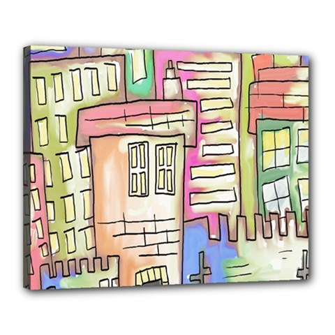 A Village Drawn In A Doodle Style Canvas 20  x 16