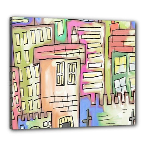 A Village Drawn In A Doodle Style Canvas 24  X 20