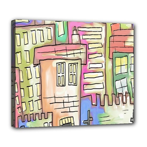 A Village Drawn In A Doodle Style Deluxe Canvas 24  x 20