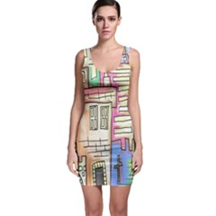 A Village Drawn In A Doodle Style Sleeveless Bodycon Dress