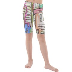 A Village Drawn In A Doodle Style Kids  Mid Length Swim Shorts