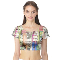 A Village Drawn In A Doodle Style Short Sleeve Crop Top (Tight Fit)