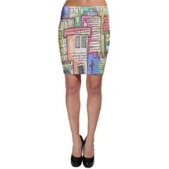 A Village Drawn In A Doodle Style Bodycon Skirt