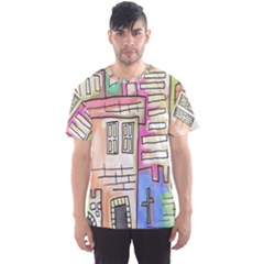 A Village Drawn In A Doodle Style Men s Sports Mesh Tee