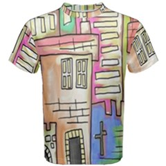 A Village Drawn In A Doodle Style Men s Cotton Tee