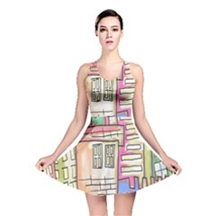 A Village Drawn In A Doodle Style Reversible Skater Dress