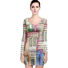 A Village Drawn In A Doodle Style Long Sleeve Bodycon Dress