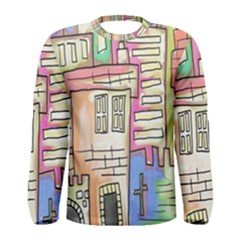 A Village Drawn In A Doodle Style Men s Long Sleeve Tee