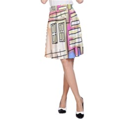 A Village Drawn In A Doodle Style A-Line Skirt