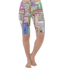 A Village Drawn In A Doodle Style Cropped Leggings