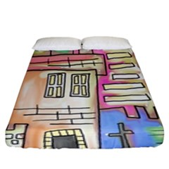 A Village Drawn In A Doodle Style Fitted Sheet (king Size)