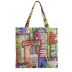 A Village Drawn In A Doodle Style Zipper Grocery Tote Bag