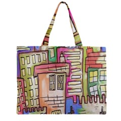 A Village Drawn In A Doodle Style Zipper Mini Tote Bag