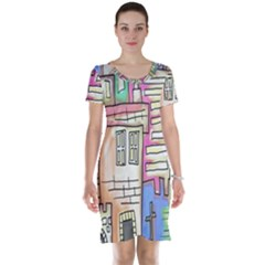 A Village Drawn In A Doodle Style Short Sleeve Nightdress
