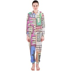 A Village Drawn In A Doodle Style Hooded Jumpsuit (ladies)