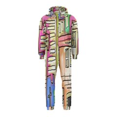 A Village Drawn In A Doodle Style Hooded Jumpsuit (kids)