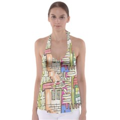 A Village Drawn In A Doodle Style Babydoll Tankini Top