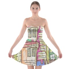 A Village Drawn In A Doodle Style Strapless Bra Top Dress