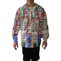 A Village Drawn In A Doodle Style Hooded Wind Breaker (Kids)