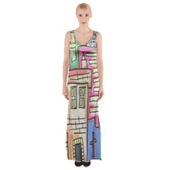A Village Drawn In A Doodle Style Maxi Thigh Split Dress