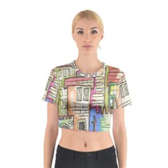 A Village Drawn In A Doodle Style Cotton Crop Top