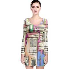 A Village Drawn In A Doodle Style Long Sleeve Velvet Bodycon Dress