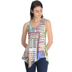 A Village Drawn In A Doodle Style Sleeveless Tunic