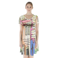 A Village Drawn In A Doodle Style Short Sleeve V Neck Flare Dress
