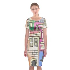 A Village Drawn In A Doodle Style Classic Short Sleeve Midi Dress