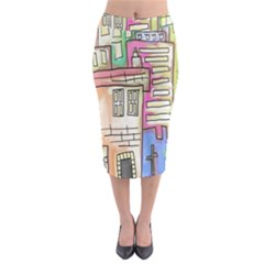 A Village Drawn In A Doodle Style Midi Pencil Skirt