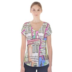 A Village Drawn In A Doodle Style Short Sleeve Front Detail Top