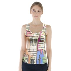A Village Drawn In A Doodle Style Racer Back Sports Top