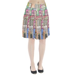 A Village Drawn In A Doodle Style Pleated Skirt