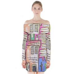 A Village Drawn In A Doodle Style Long Sleeve Off Shoulder Dress