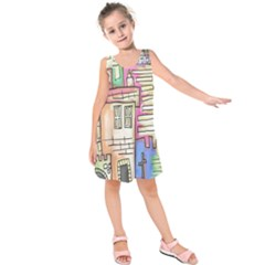 A Village Drawn In A Doodle Style Kids  Sleeveless Dress