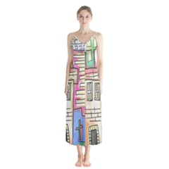 A Village Drawn In A Doodle Style Button Up Chiffon Maxi Dress