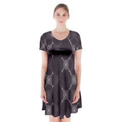 Abstract Seamless Pattern Background Short Sleeve V Neck Flare Dress