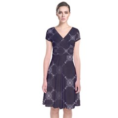 Abstract Seamless Pattern Background Short Sleeve Front Wrap Dress
