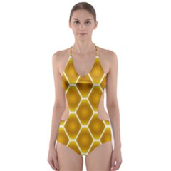 Snake Abstract Pattern Cut-Out One Piece Swimsuit