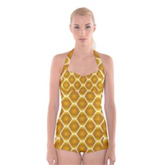 Snake Abstract Pattern Boyleg Halter Swimsuit