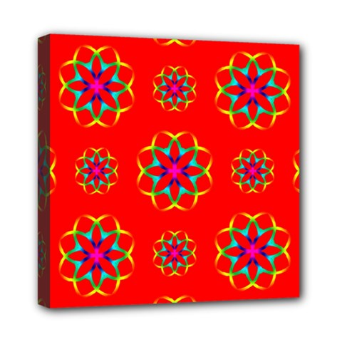 Rainbow Colors Geometric Circles Seamless Pattern On Red Background Mini Canvas 8  X 8