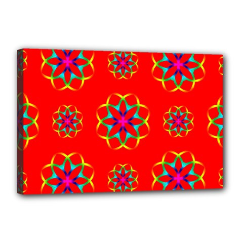 Rainbow Colors Geometric Circles Seamless Pattern On Red Background Canvas 18  X 12