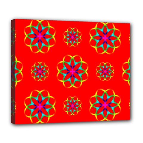 Rainbow Colors Geometric Circles Seamless Pattern On Red Background Deluxe Canvas 24  X 20