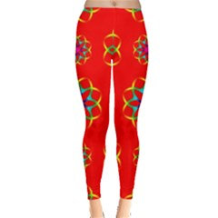 Rainbow Colors Geometric Circles Seamless Pattern On Red Background Leggings