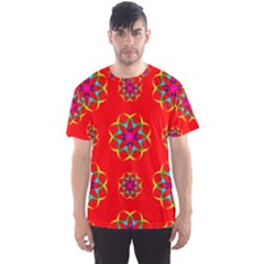 Rainbow Colors Geometric Circles Seamless Pattern On Red Background Men s Sports Mesh Tee