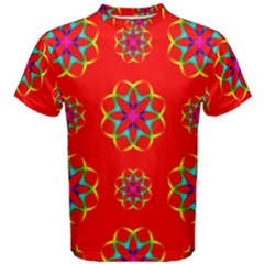 Rainbow Colors Geometric Circles Seamless Pattern On Red Background Men s Cotton Tee