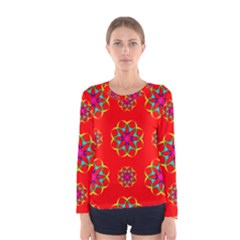Rainbow Colors Geometric Circles Seamless Pattern On Red Background Women s Long Sleeve Tee
