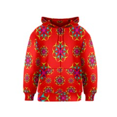 Rainbow Colors Geometric Circles Seamless Pattern On Red Background Kids  Zipper Hoodie
