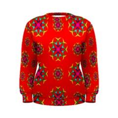Rainbow Colors Geometric Circles Seamless Pattern On Red Background Women s Sweatshirt