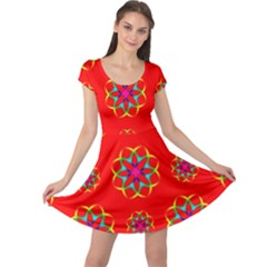 Rainbow Colors Geometric Circles Seamless Pattern On Red Background Cap Sleeve Dresses